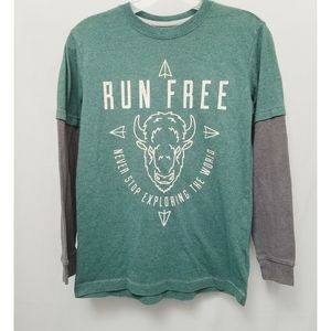 Old Navy Green and Gray Layered Tee